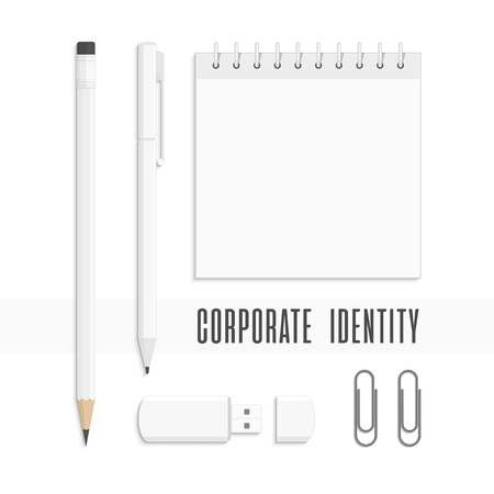 Vector templates of corporate identity. Branding design. Business stationery mock-up. Notebook, pencils, pen, USB flash drive, paper clips. Illustration