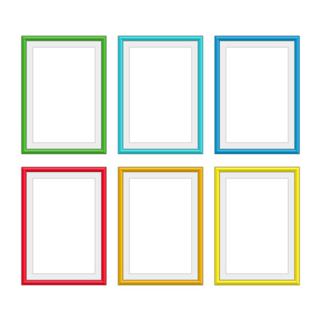 Set of vintage colorful wooden frames. Realistic style. Colorful Wooden picture frame collection for your design project. Abstract colored frameworks isolated on white background. Vector illustration. Illustration