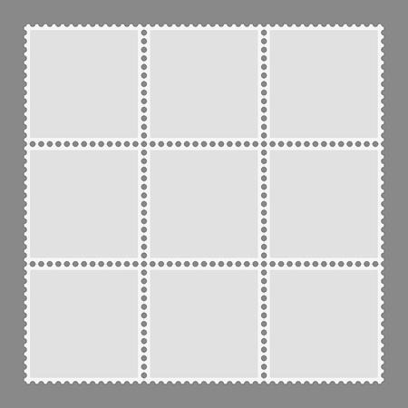 Blank postage stamps set isolated on gray background. Mark mail letter stamps design. Postal frame sticker template. Toothed border mailing postal sticker. Vector illustration