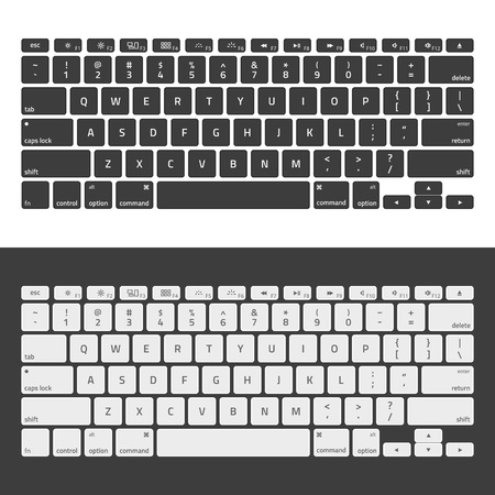 Computer keyboards. Modern, compact keyboard in white and black color. Technology design. Realistic keyboard with alphabet.