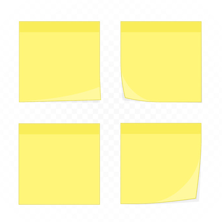 Set of yellow memo reminder papers. Paper sticky notes, ready for your message. Stick note collection isolated on transparent background. Realistic style. Vector illustration
