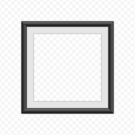 Realistic photo frame template isolated on white background. Black, blank picture frames for A4 image or text. Modern design element for you product mock-up or presentation. Vector illustration Illustration