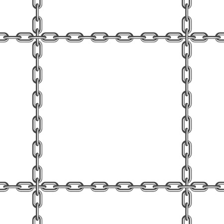 Iron chain pattern. Black and white Chain seamless background. Simple chains links texture. Geometric backdrop. Vector illustration. EPS 10.