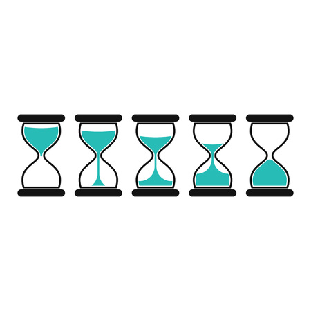 Hourglass icons, isolated on white background. Sand Clocks for Sprite Sheet Animation. Time hourglass in simple flat style. Vector illustration