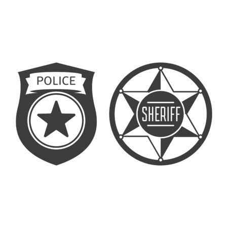 Sheriff and police badge icon.