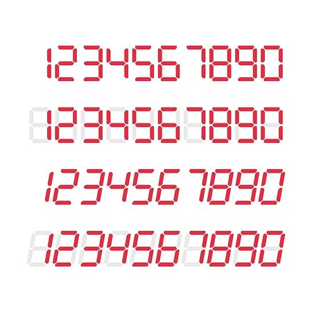 Digital glowing numbers, vector illustration.