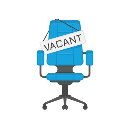 Empty office chair with vacant sign. Business hiring and recruiting concept. Employment, vacancy and hiring job illustration. Vacant seat for employee, worker. Vector EPS 10.