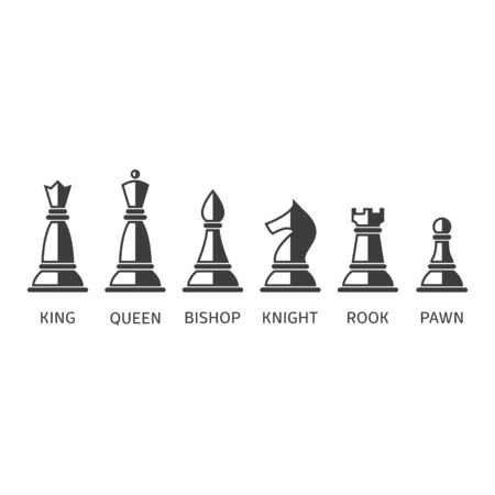 Set of chess icons, vector illustration.