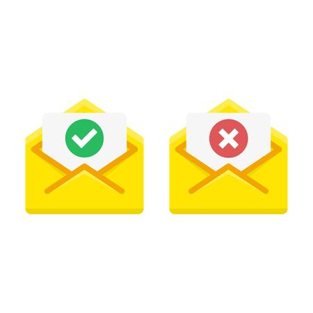 Check mark icon in mail envelope, vector illustration.