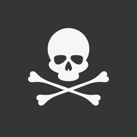 Skull and bones icon, vector illustration.