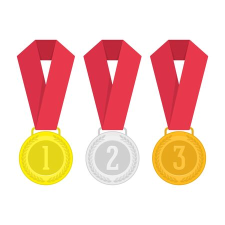 Vector medal set, vector illustration.