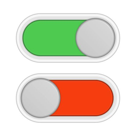 On and off slider buttons, vector illustration.