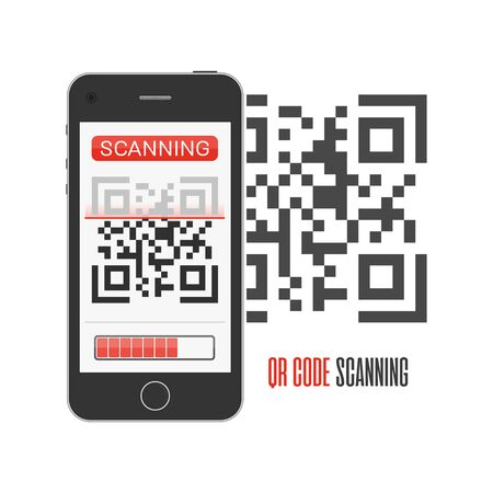 QR code scanning, vector illustration. Ilustrace