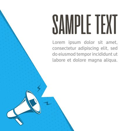 Megaphone with blank bubble speech. Loudspeaker advertisement concept. Banner for business, promotion and advertising. Vector illustration in flat style. EPS 10.  イラスト・ベクター素材
