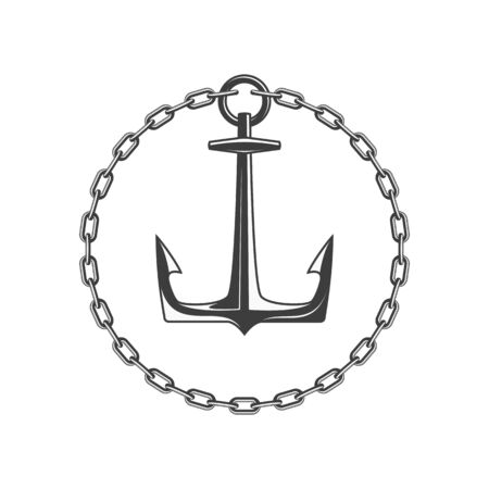 Anchor and circular chain, vector illustration.