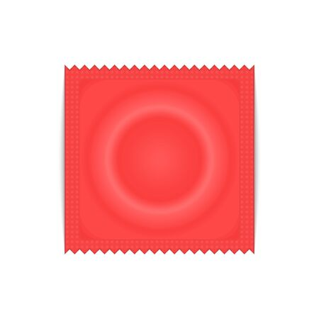 Condom plastic package, vector illustration.