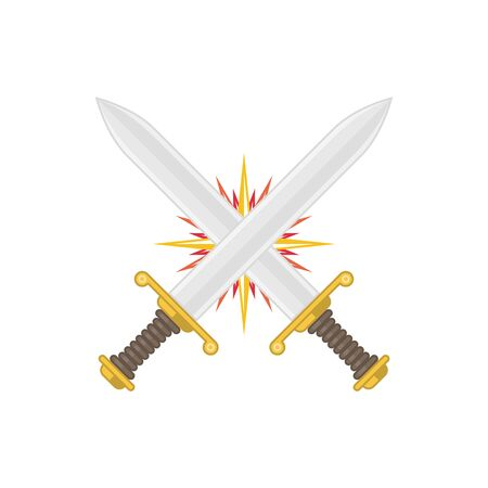 Two crossed swords, vector illustration.