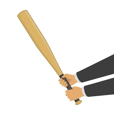 Baseball bat in hands, vector illustration.