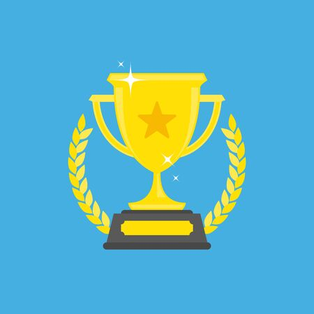 Trophy cup vector flat icon, vector illustration. Ilustrace