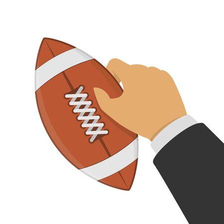 American football ball in hand, vector illustration.