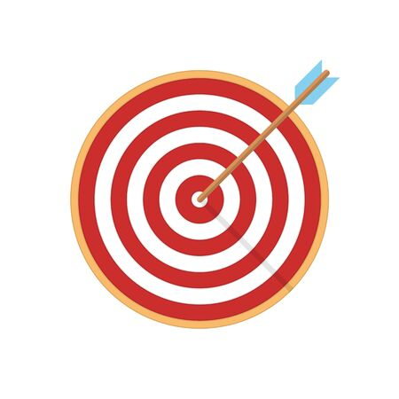 Target with arrow in center, vector illustration.