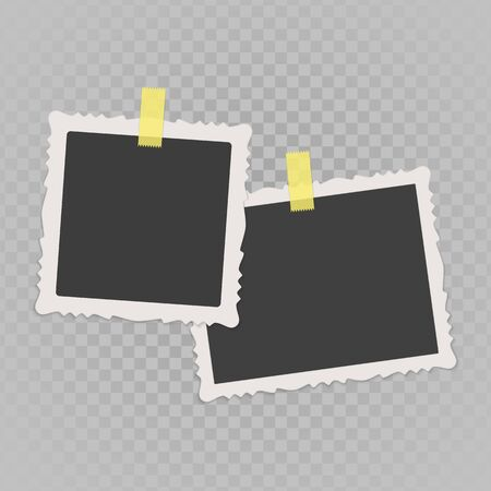Collection of vector blank photo frames with shadow effects isolated on transparent background. Set of vintage photos frame with sticky tape for your picture. Illustration in realistic style, vector illustration.