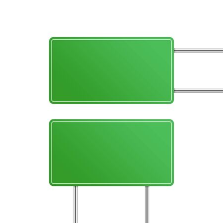 Green road sign set isolated on white background. Blank traffic signs templates for a text. Information boards different sizes for your message. Vector illustration in realistic style. EPS 10.