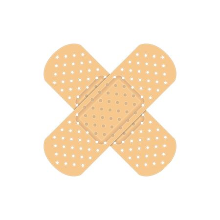 Medical adhesive tape plasters. Elastic medical bandage in realistic style. Crossed Plasters. First aid, medicine concepts. Vector illustration EPS 10.