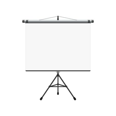 Empty Projection screen, Presentation board in realistic style. Horizontal roll up banner isolated on the white background. Blank whiteboard for conference. Vector illustration EPS 10.