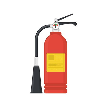 Fire extinguisher icon isolated on white background. Red Extinguisher in flat style. Concept of fire safety. Vector illustration EPS 10.