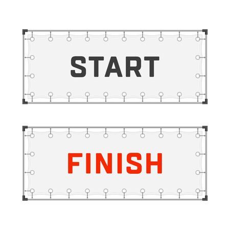 Starting and finishing lines banners isolated on white background. Start and Finish flags in realistic style. Sport race, competition finishing concept. Vector illustration EPS 10. Ilustrace