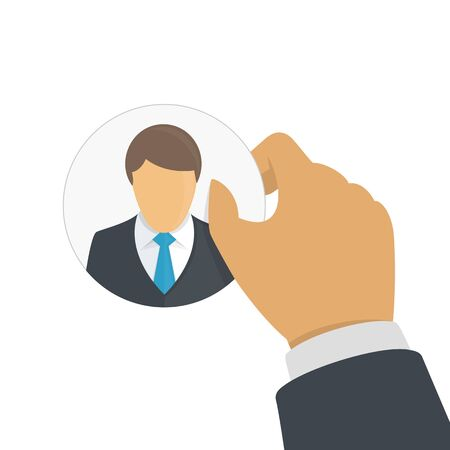 Customer retention concept. Hand of a businessman holding client icon. Providing save customer loyalty. Vector illustration in flat style. EPS 10.