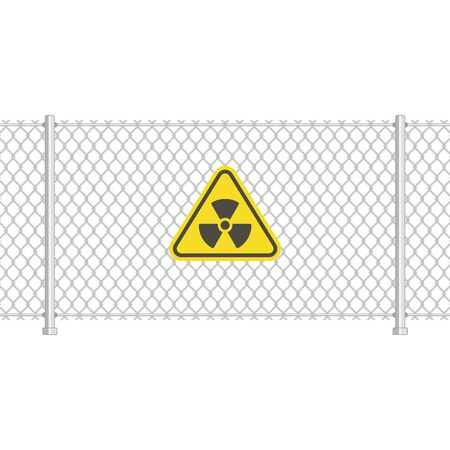Radiation sign on fence.