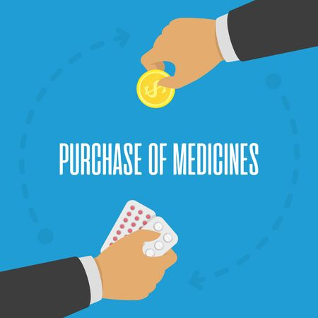 Purchase of medicines concept. 向量圖像