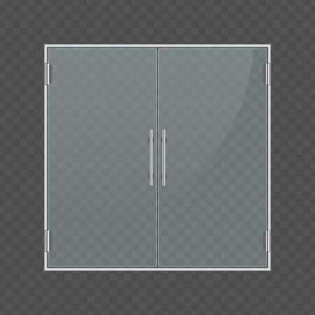 Glass entrance doors vector.