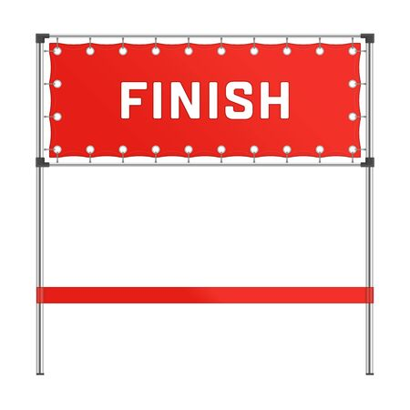 Finish line with red banner.