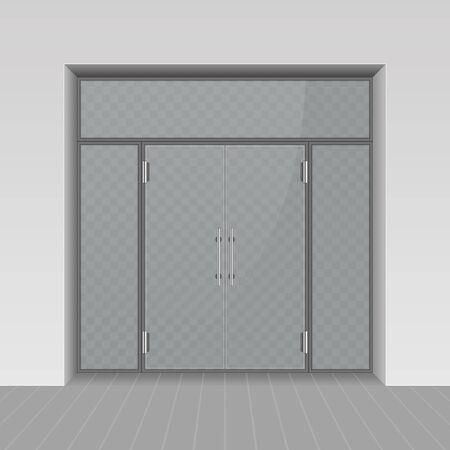 Glass entrance door.