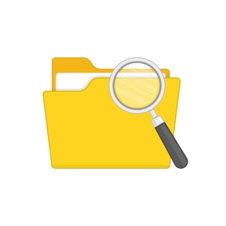 Folder with magnifying glass.