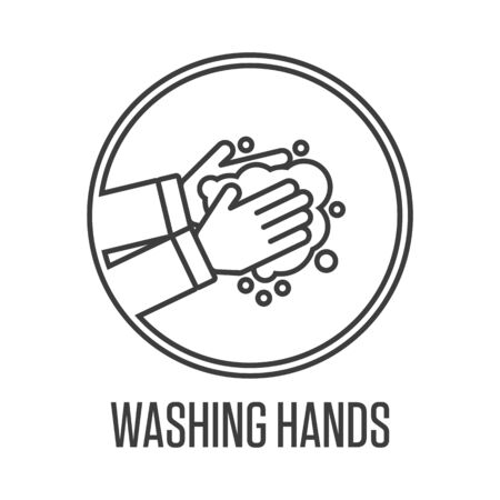 Washing hands sign.