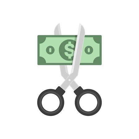 Scissors cutting dollar.
