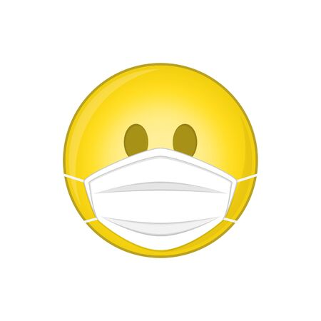 Emoji with medical mask. Stock Illustratie