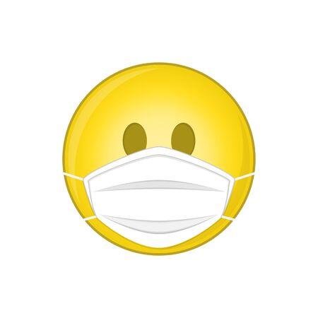 Emoji with medical mask. Illustration