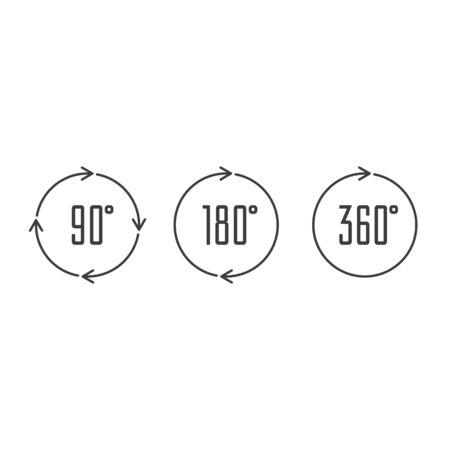 Angle degrees circle icons. Illustration