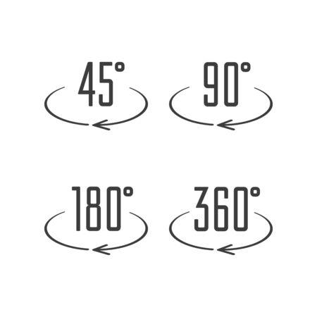 Angle degrees icons. Illustration
