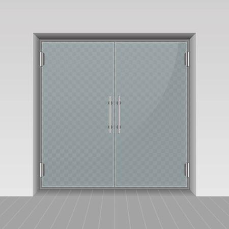 Glass entrance door vector.