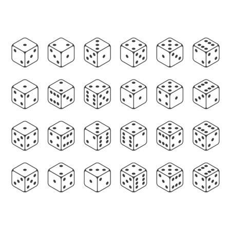 Set of isometric dice vector.
