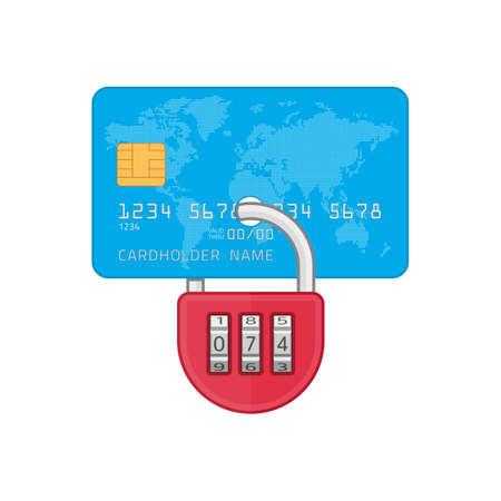 Lock on credit card. Фото со стока - 159567475