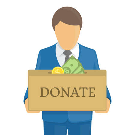 Donate box in hands.