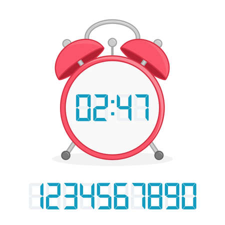 Digital clock flat icon. Фото со стока - 159567478