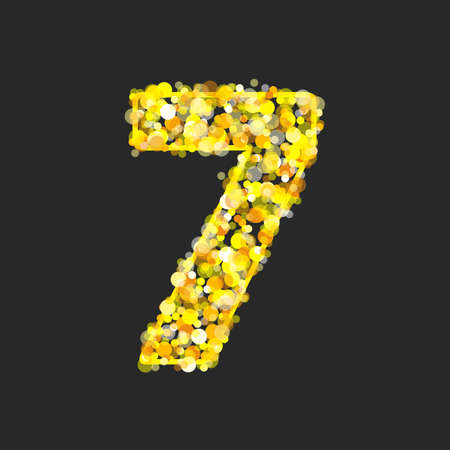 Gold glittering number 7.